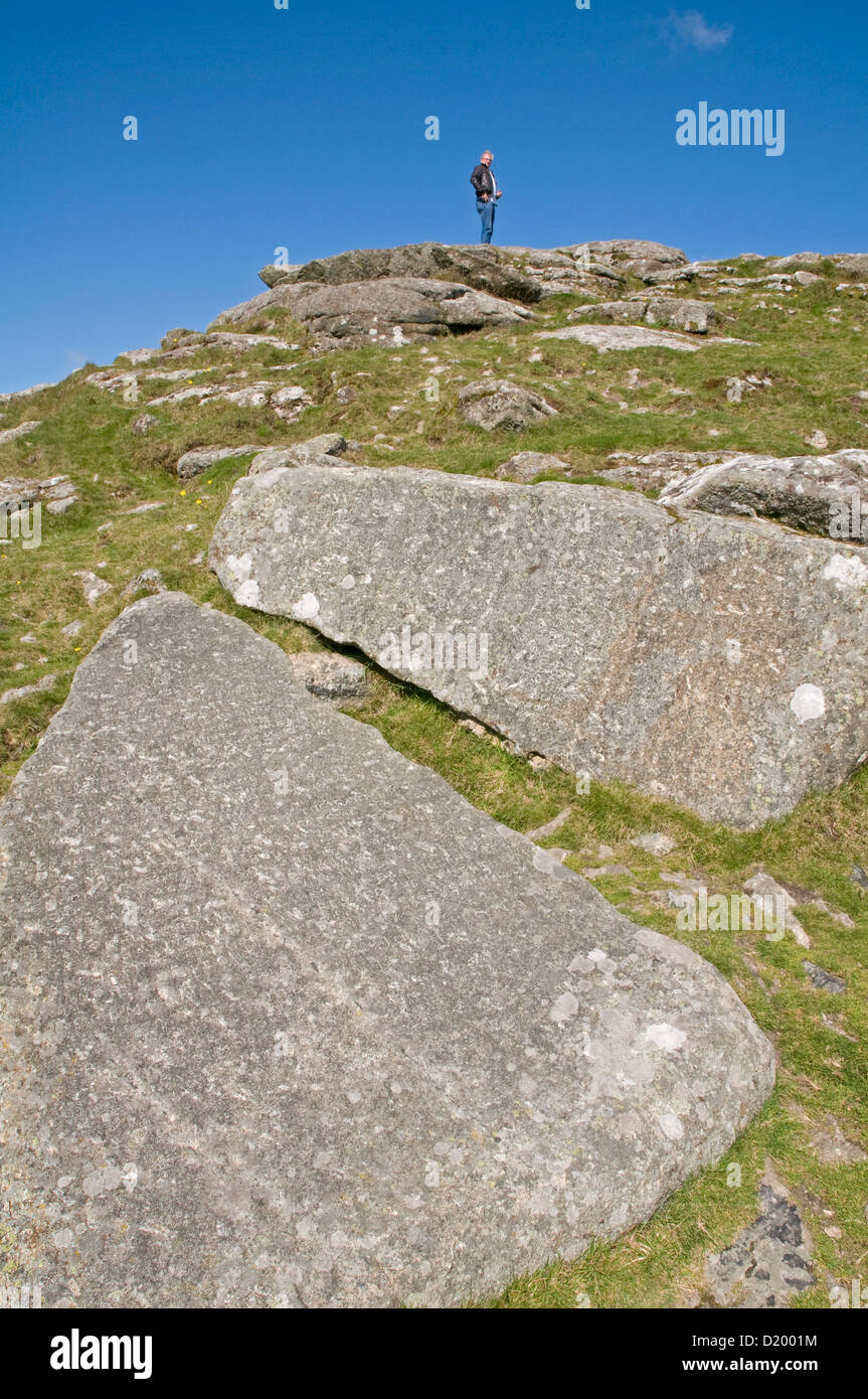 Two large granite slabs on Buckland Beacon, Dartmoor, known as the Commandment Stones - Stock Image