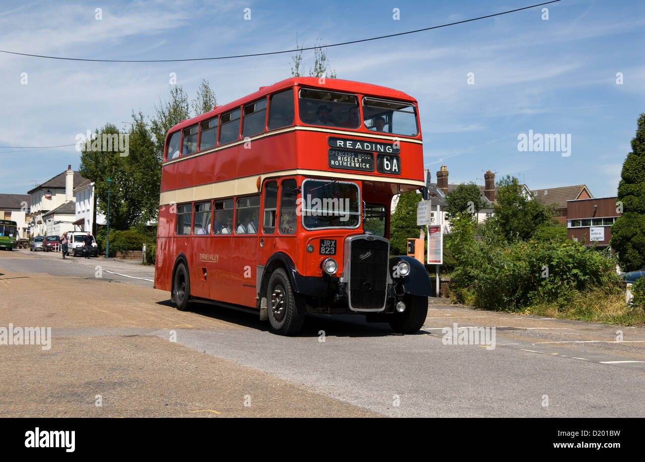 A preserved Thames Valley Bristol KSW6B takes part in the Alton bus rally and running day. It is arriving at Alton - Stock Image