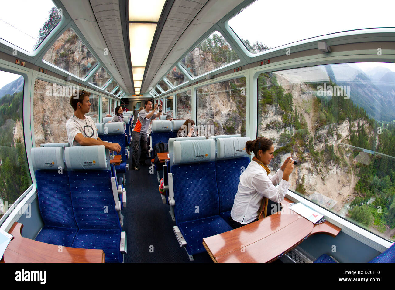 Inside view of a panoramic wagon of the Glacier Express, Switzerland - Stock Image