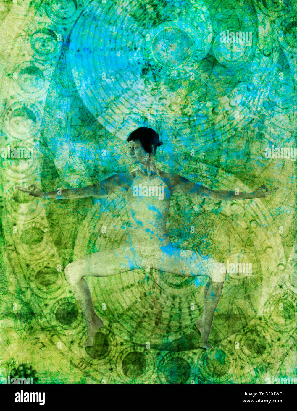 A woman in yoga posewith yoga mudra. Photo illustration with alchemical flow pattern overlaid. Stock Photo