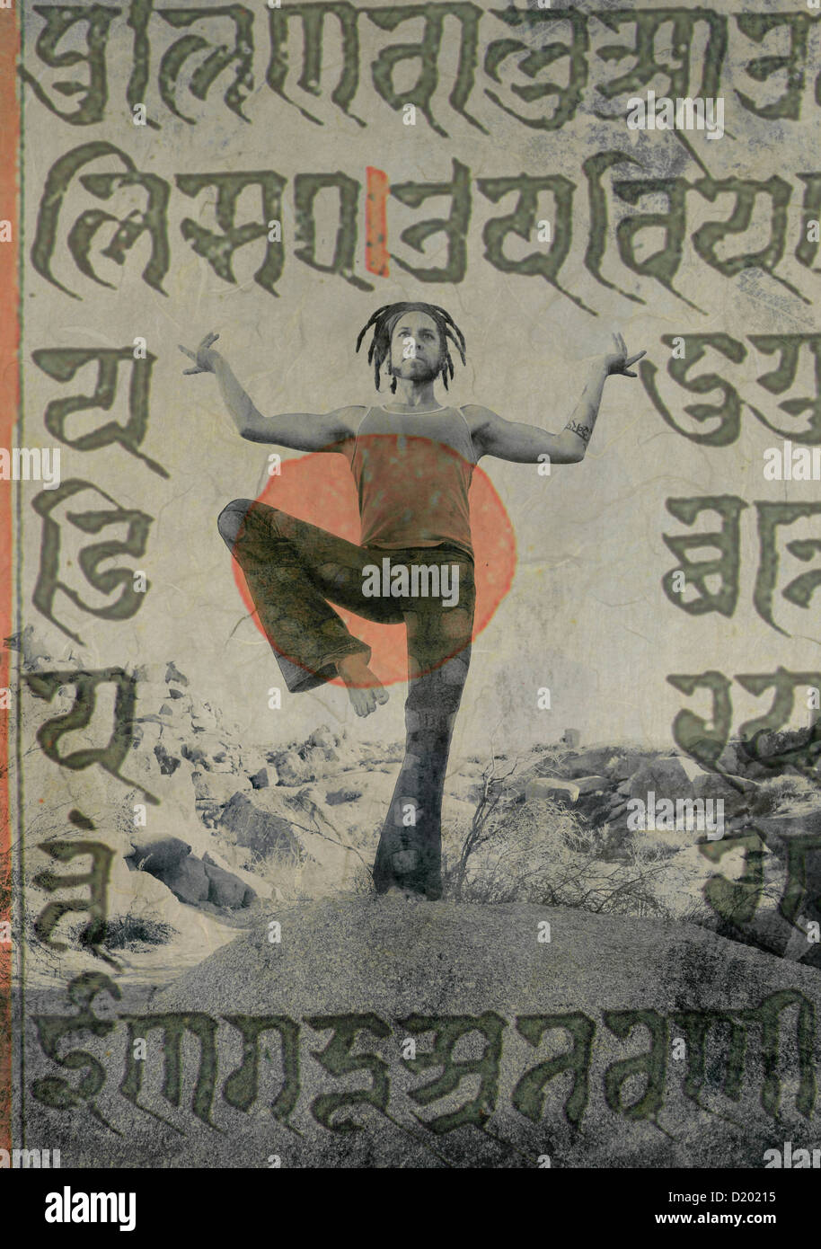 Yogi Shiva dancer with ancient sacred sanskrit writings overlaid. - Stock Image