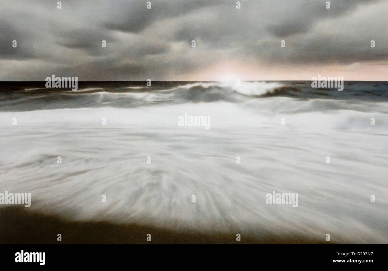 Breaking waves, Sylt island, North Sea, Schleswig-Holstein, Germany, Europe - Stock Image