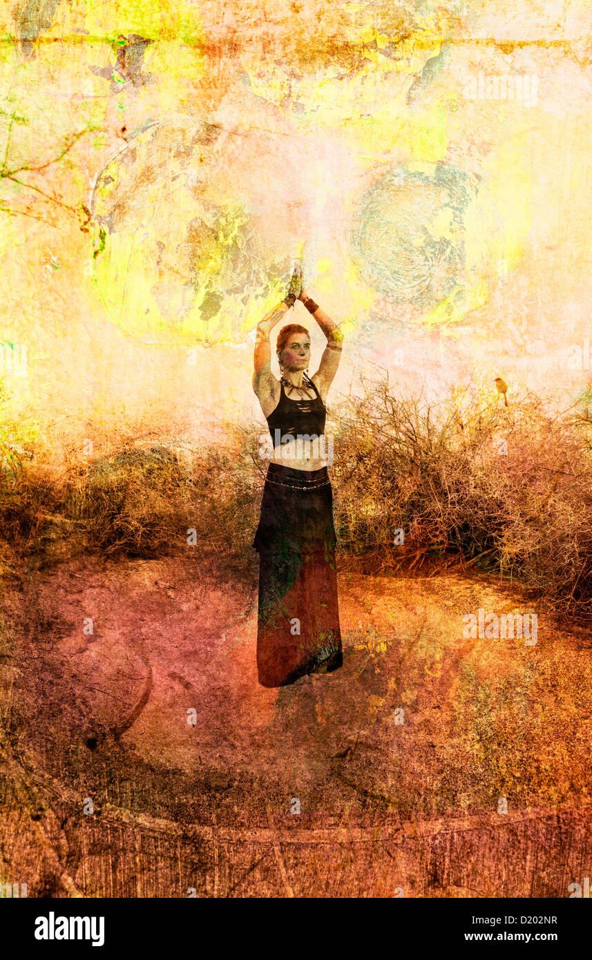 Woman in goddess pose. Photo based illustration. - Stock Image