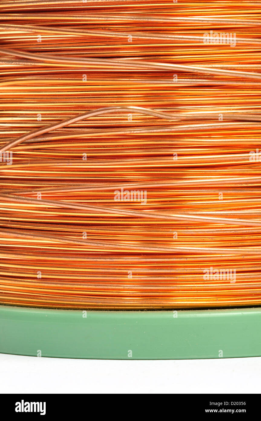 Reel of Copper Wire, Close up - Stock Image