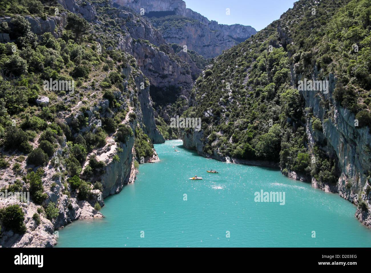 Verdon gorge at Lac de Sainte-Croix, at Aiguines, Provence, France Stock Photo