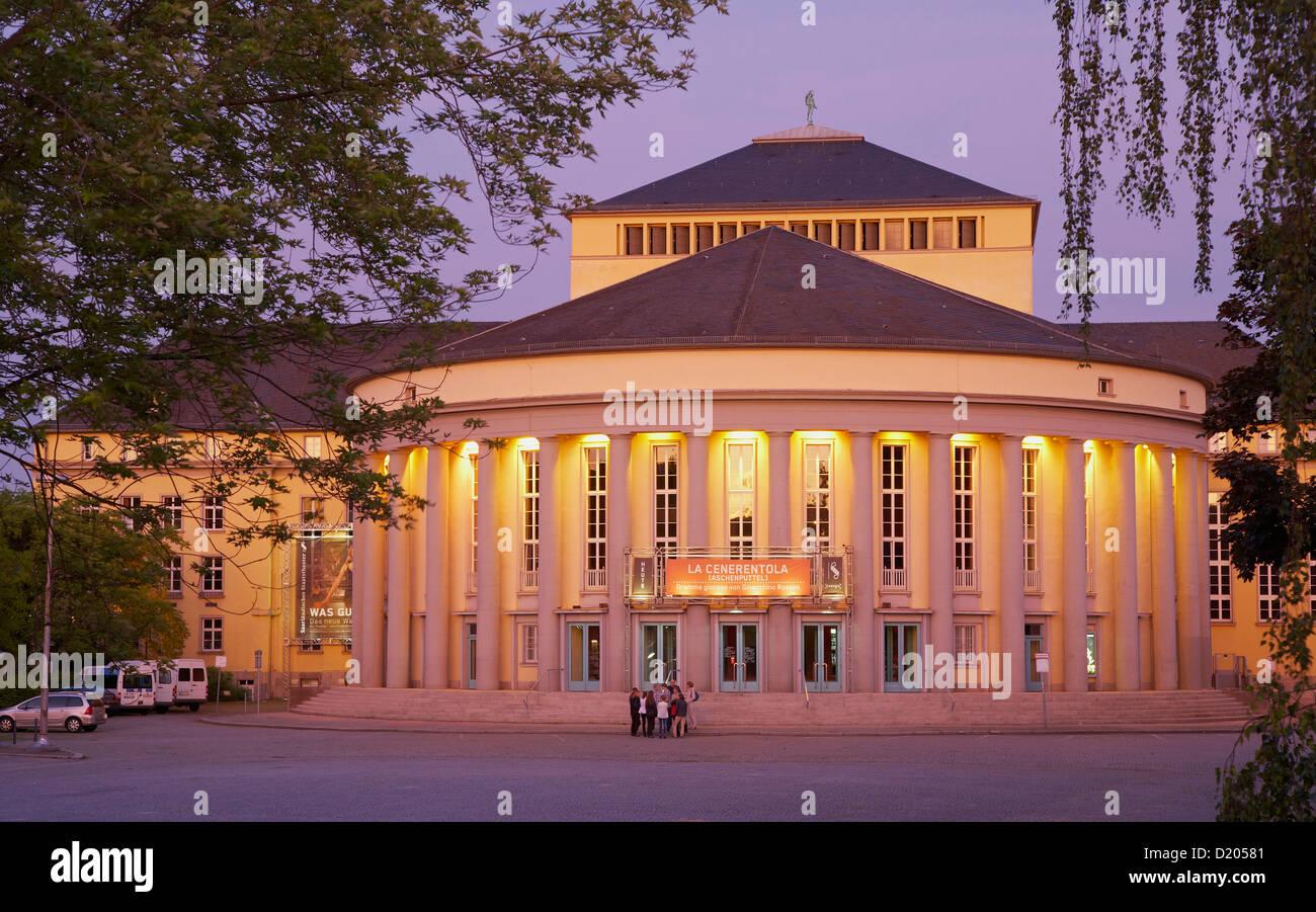Illuminated theatre in the evening, Staatstheater, Saarbruecken, Saarland, Germany, Europe Stock Photo