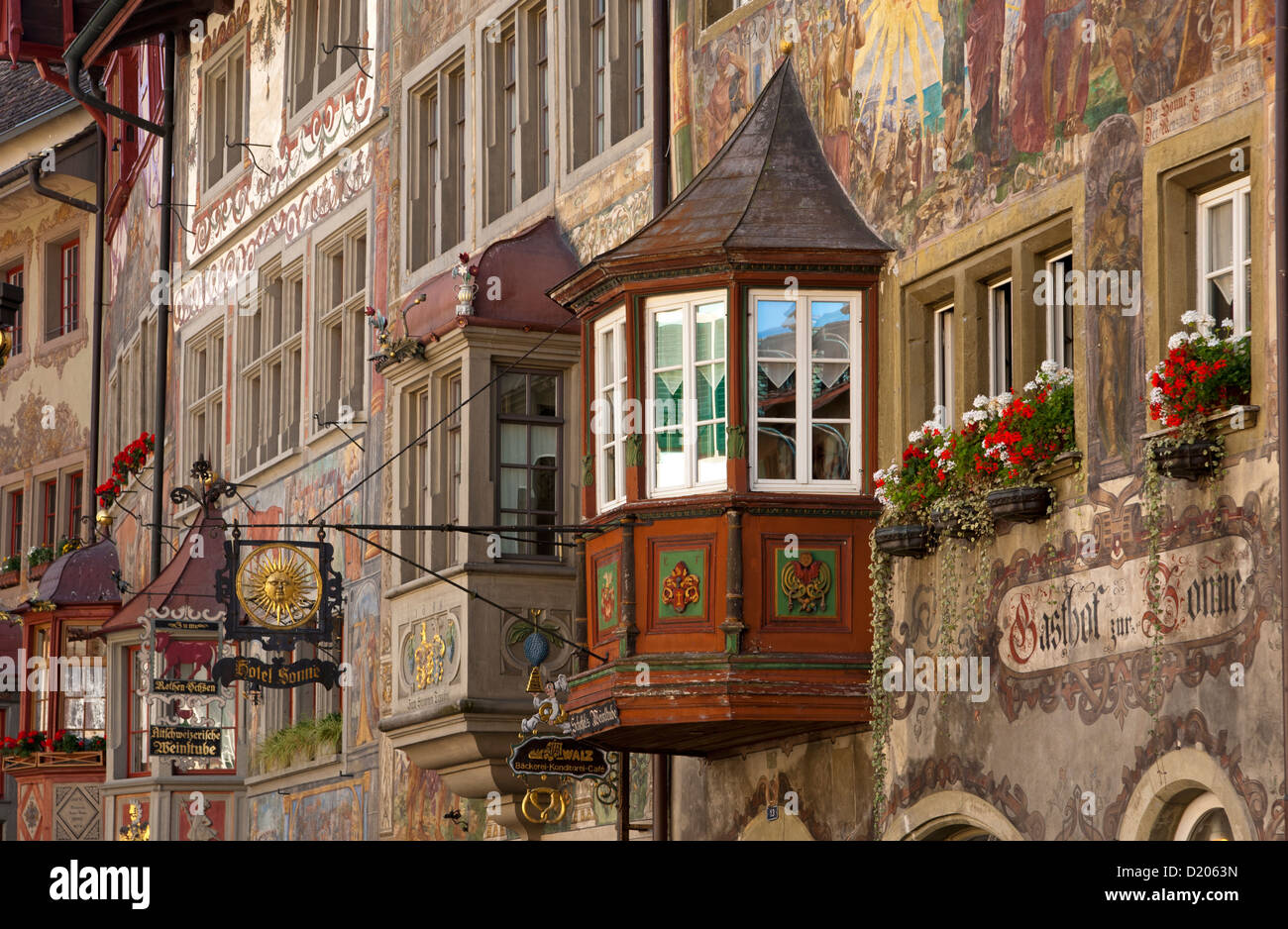 Murals on the facades on buildings at Rathausplatz square in the old town, Stein am Rhein, Canton of Schaffhausen, - Stock Image