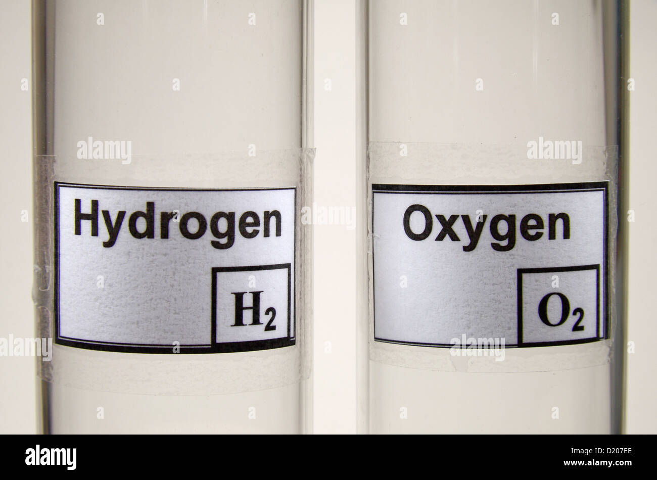 Two glass test tubes, one labeled 'Hydrogen', the other 'Oxygen'. - Stock Image