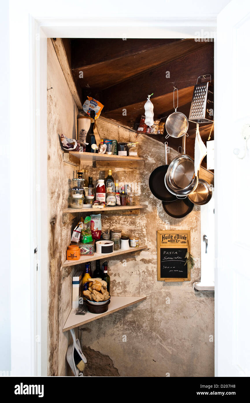 Kitchen furnished in country style, Kitchen utensils, Hamburg, Germany - Stock Image