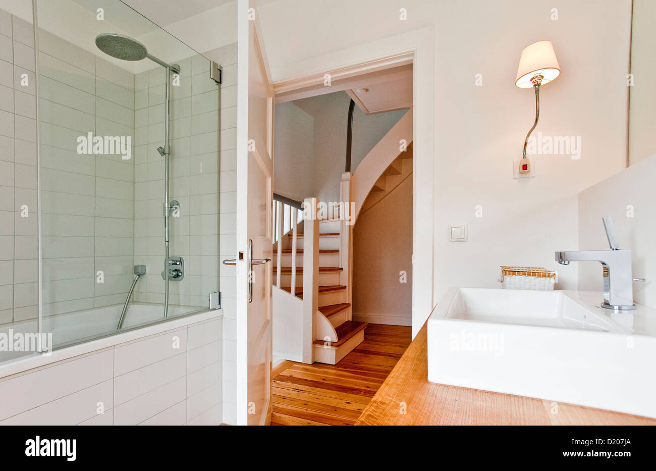 Bathroom furnished in country style, Hamburg, Germany - Stock Image