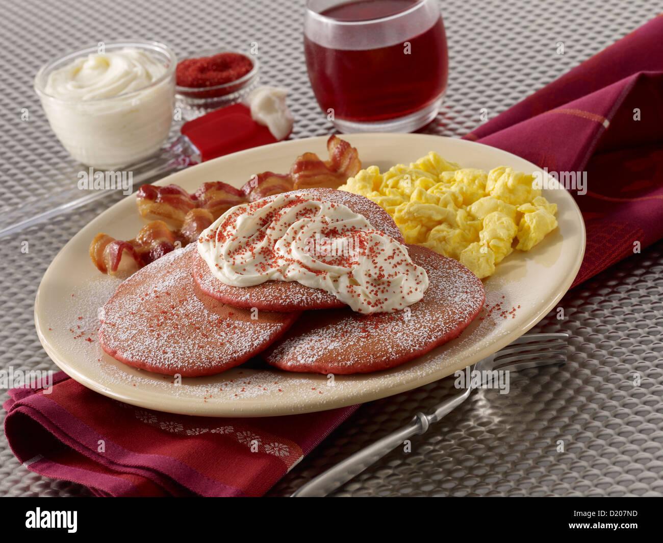 Red Velvet Pancakes - Stock Image