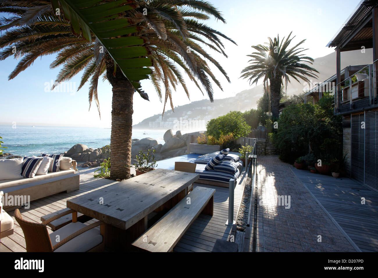 Deserted terrace with seaview, Clifton 4th beach, Atlantic Seaboard, Cape Town, South Africa, Africa - Stock Image