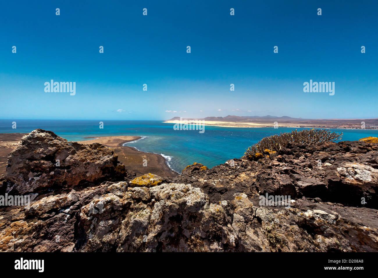 View from the crater Montana de Caldera to Fuerteventura, Lobos Island, Fuerteventura, Canary Islands, Spain - Stock Image