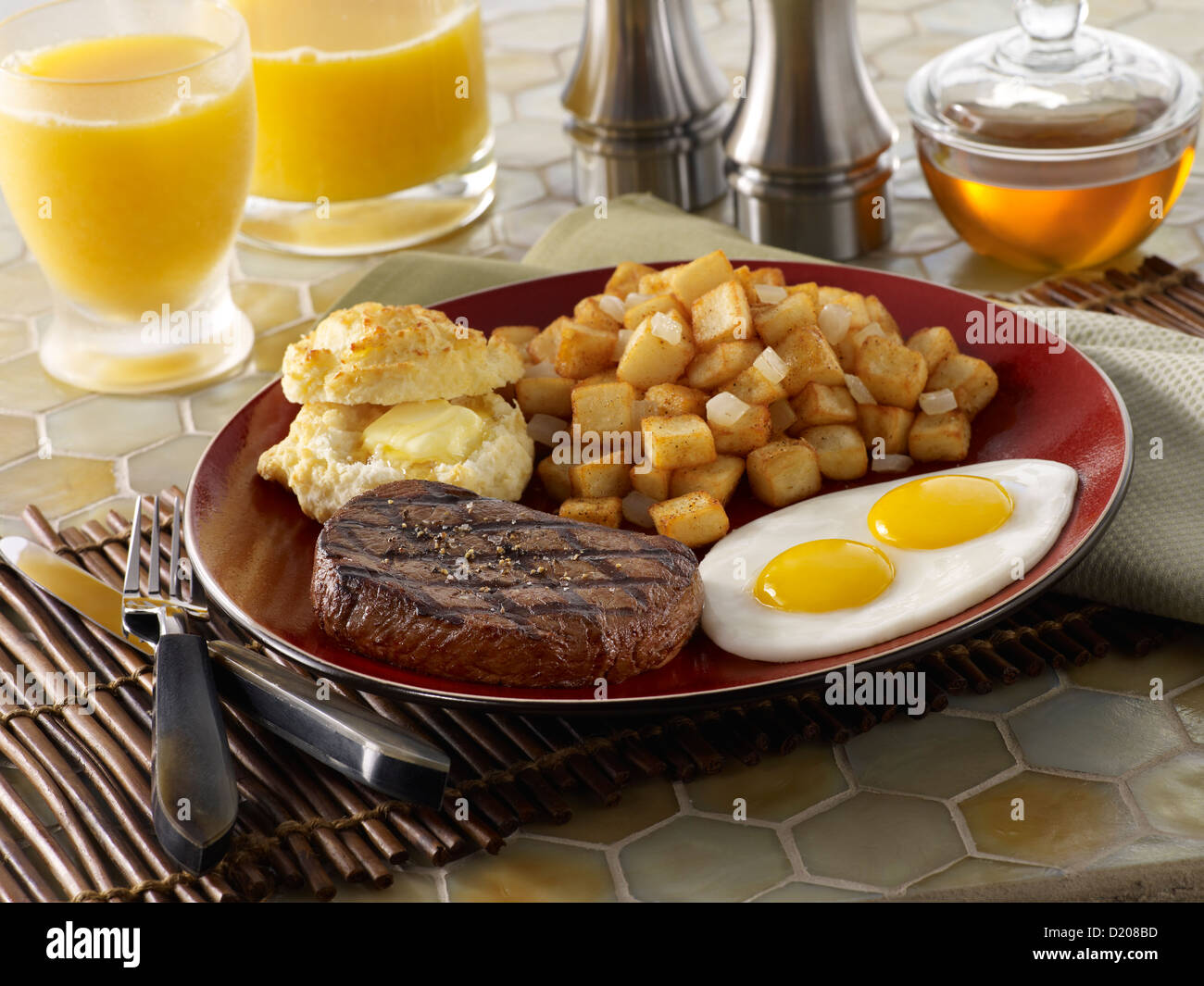 Steak and Eggs Breakfast - Stock Image
