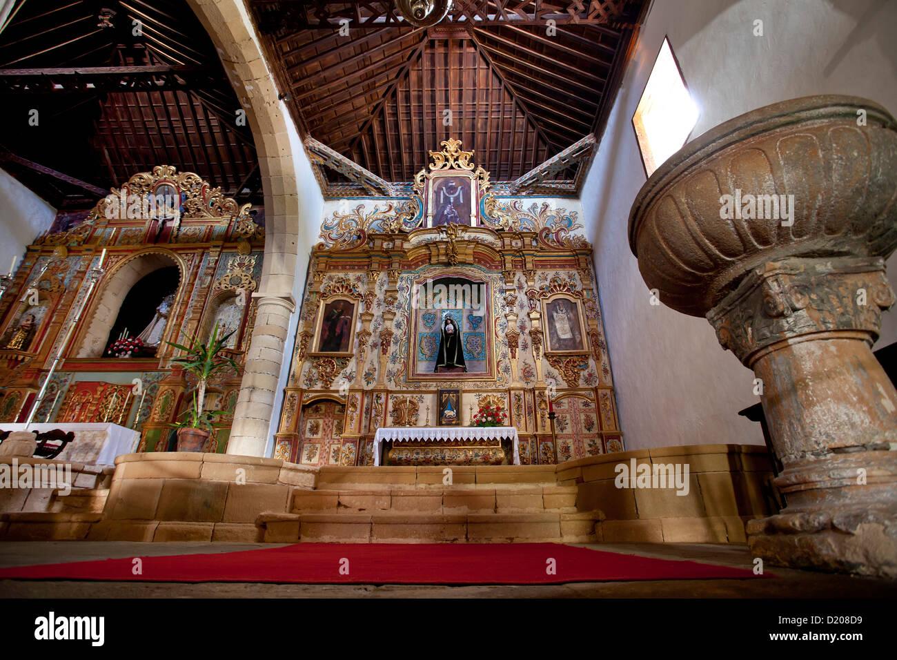 Altar, church Iglesia de Virgin de la Regla, Pajara, Fuerteventura, Canary Islands, Spain - Stock Image