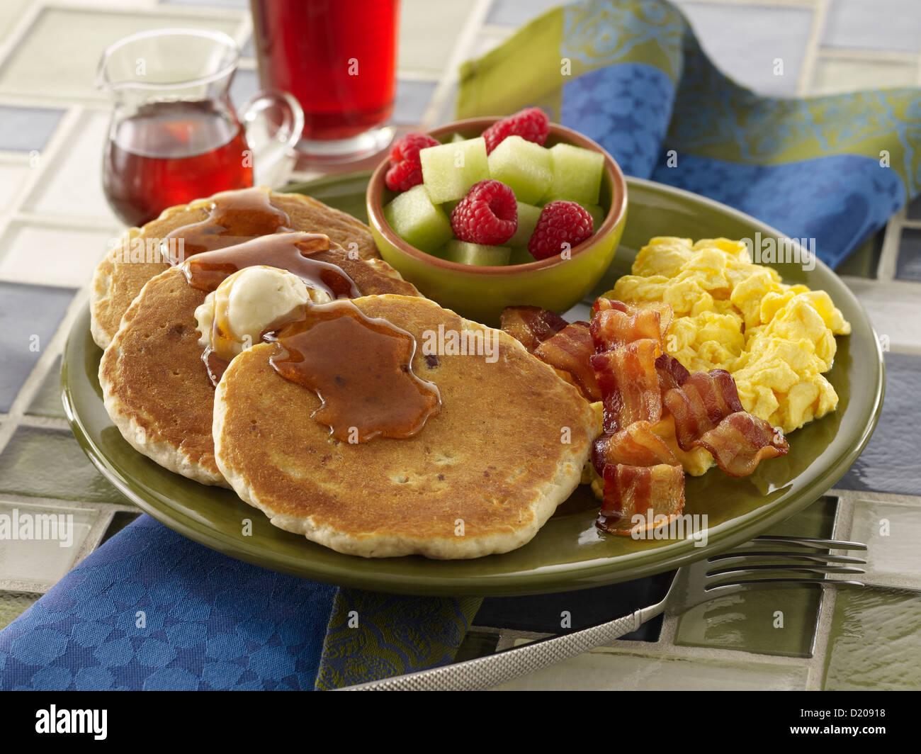 Multi-grain Pancake Breakfast - Stock Image