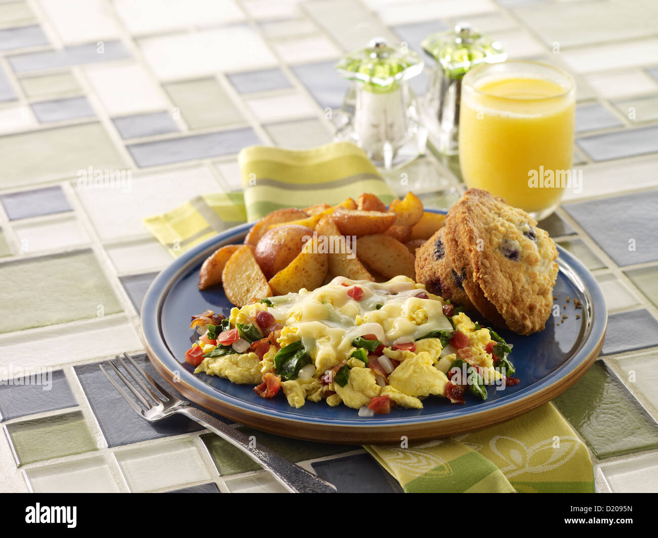 Eggs Florentine Scramble Breakfast - Stock Image