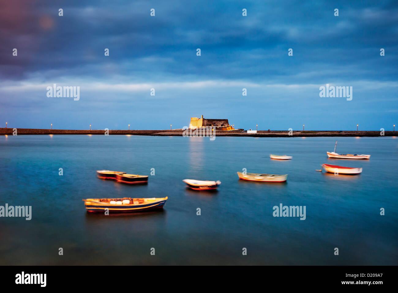 Dusk at Castillo de San Gabriel, Arrecife, Lanzarote, Canary Islands, Spain, Europe - Stock Image