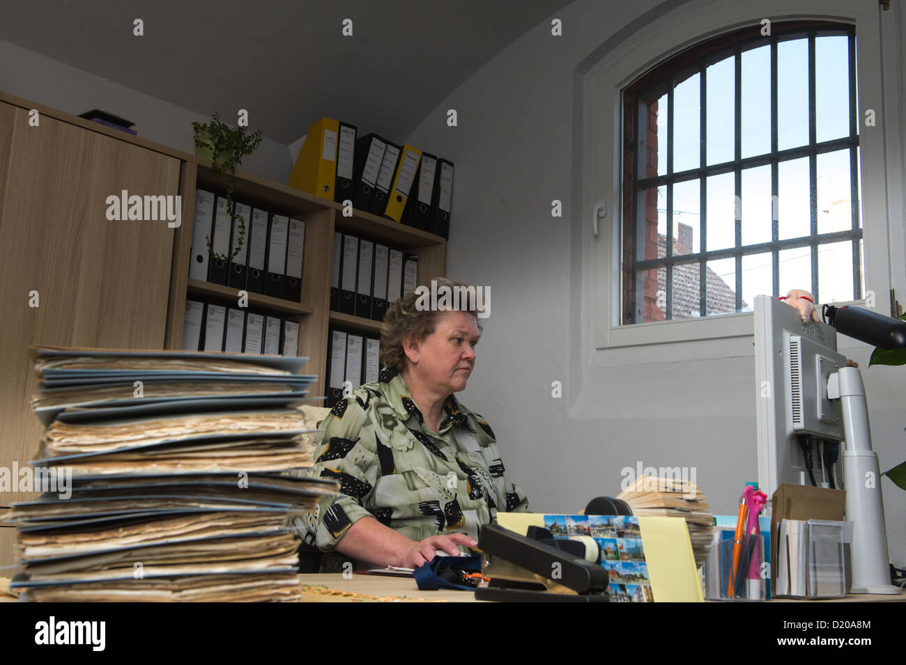 Luckau, Germany, Associate Karin Deumer in District Archives - Stock Image
