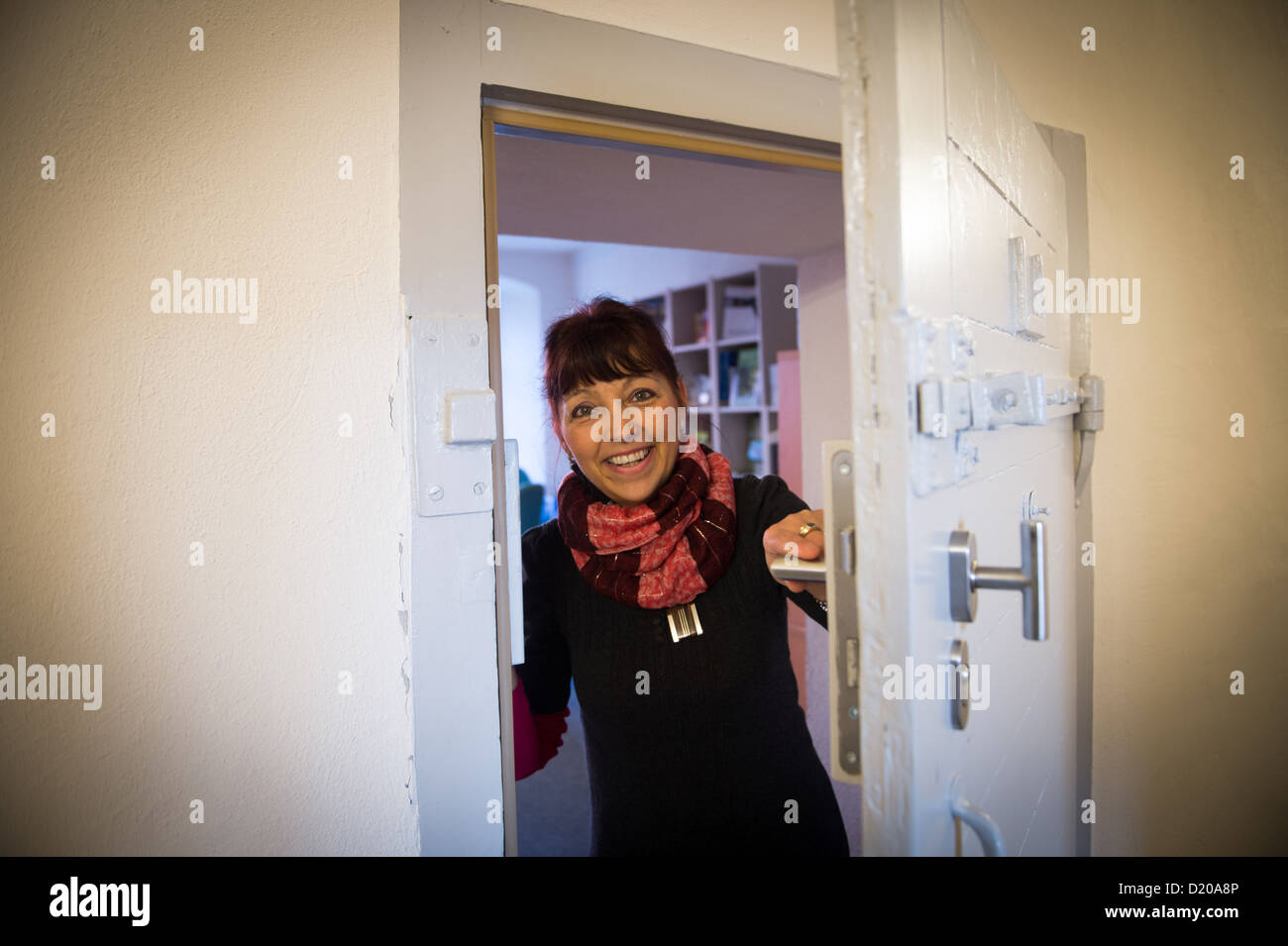 Luckau, Germany, Head of Tourism Manuela Hanschke in District Archives - Stock Image