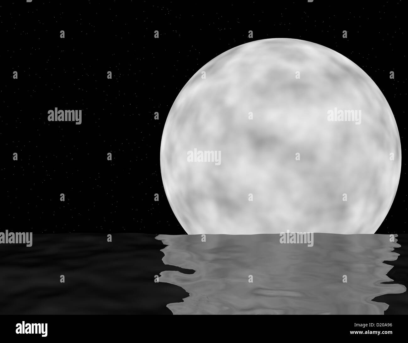 3d Render of a Moon over the Ocean - Stock Image