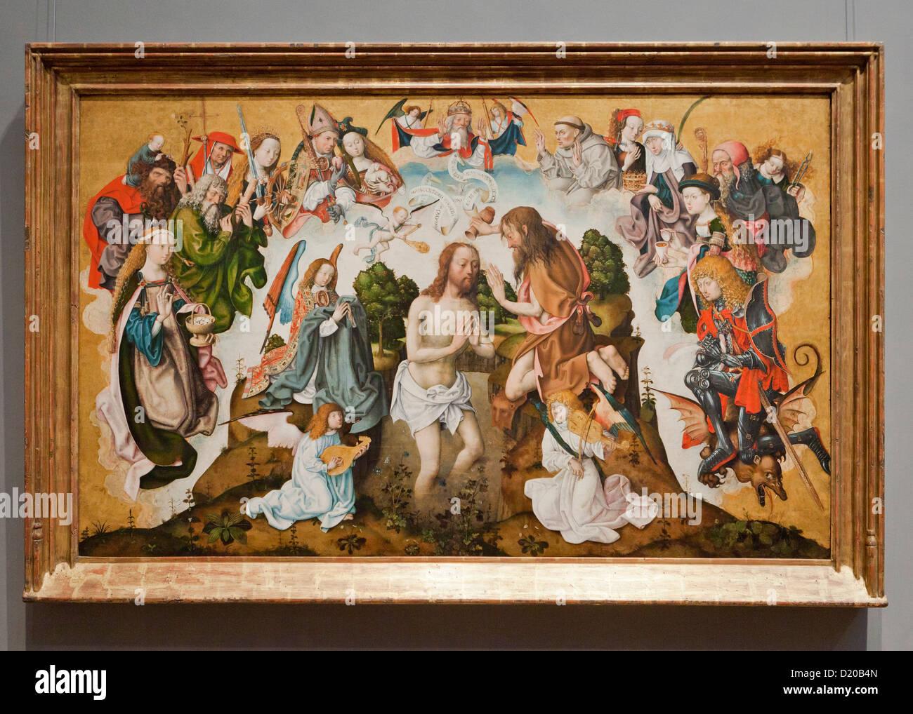 The Baptism of Christ - Master of the Saint Bartholomew Altar, 1485 - Stock Image