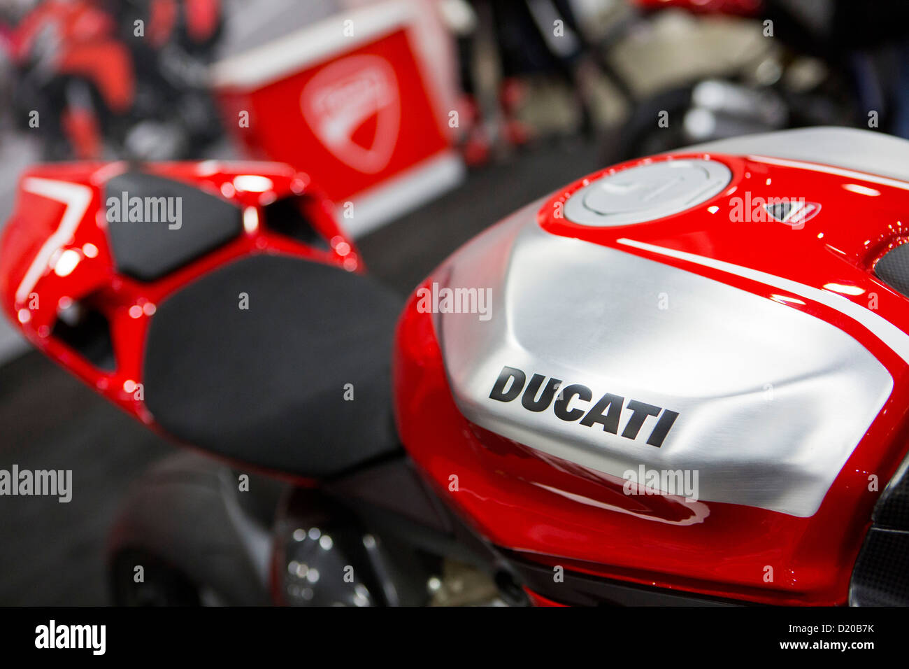 Ducati motorcycles on display at the Washington Motorcycle Show. - Stock Image