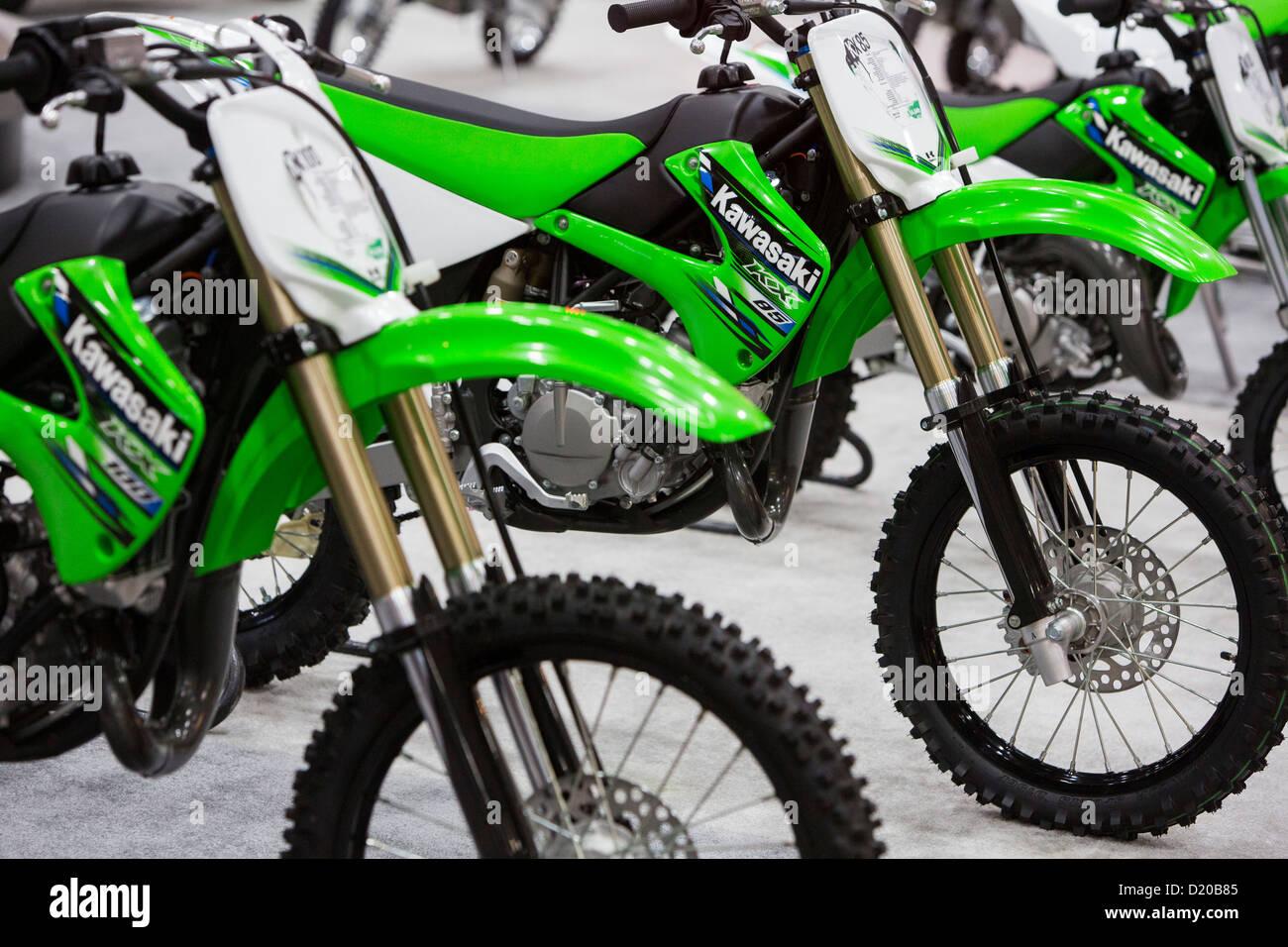 Kawasaki motorcycles on display at the Washington Motorcycle Show. - Stock Image