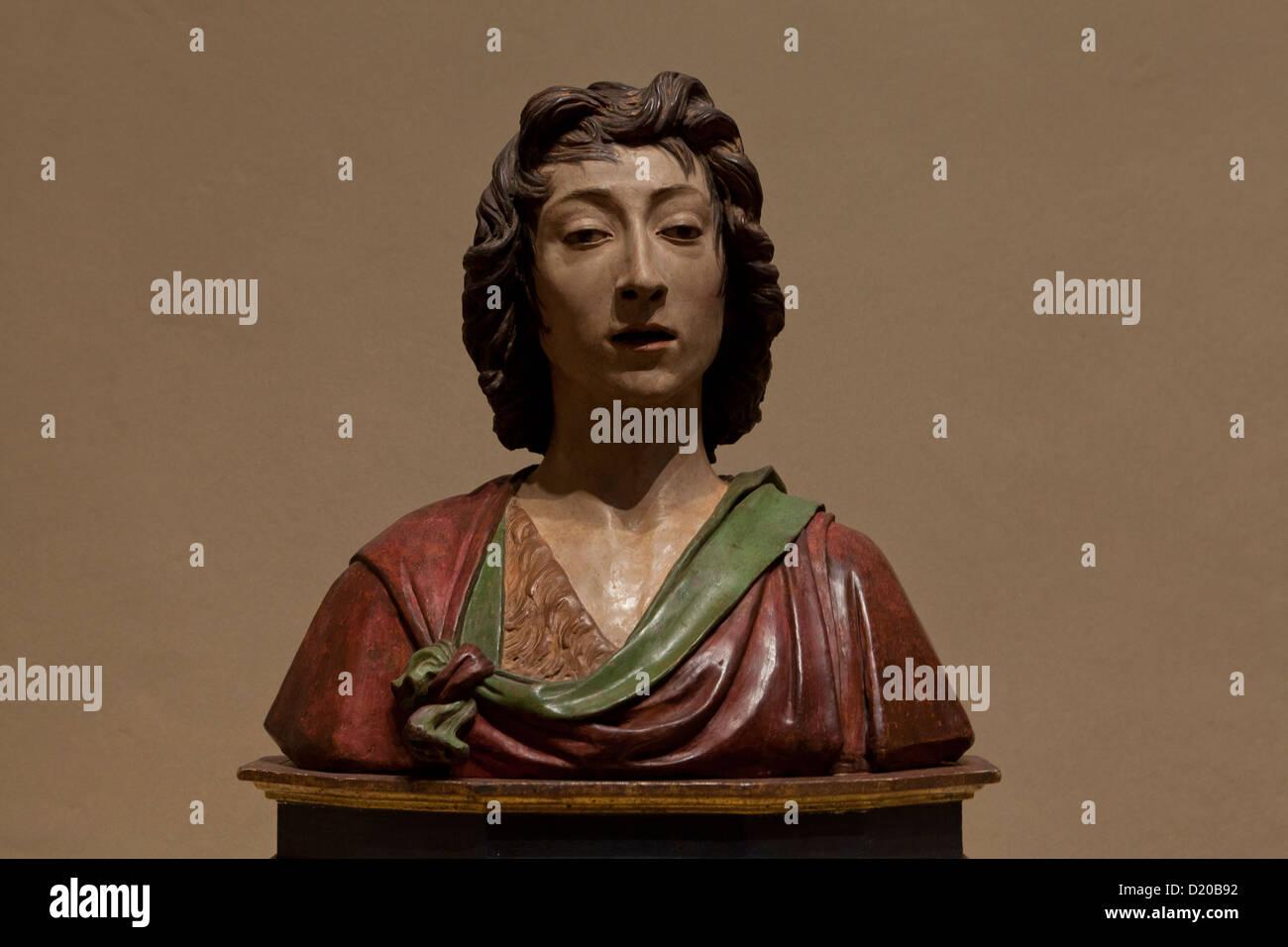 Saint John the Baptist sculpture by Desiderio Da Settignano, c. 1490 - Stock Image