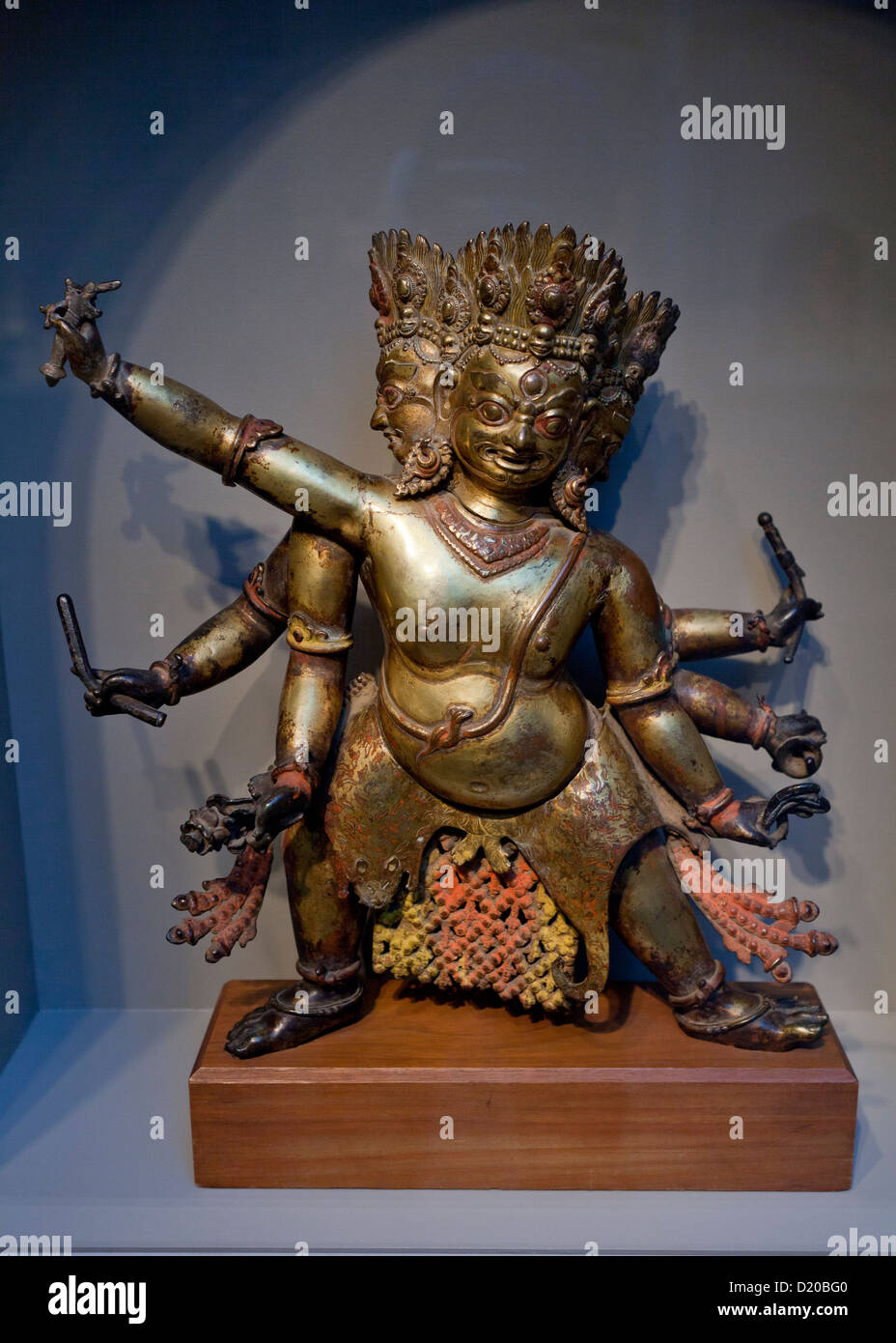 Bhairava sculpture from Nepal, 15th century - Gilt-copper - Stock Image