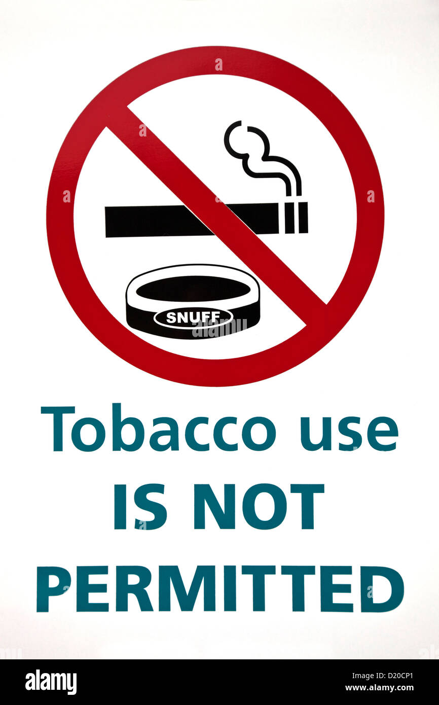 Tobacco use is not permitted sign on the white background. - Stock Image