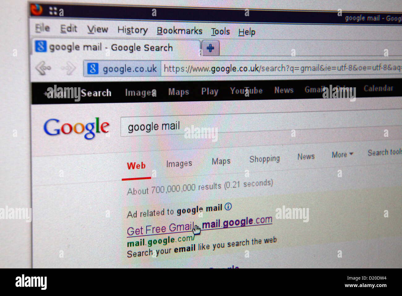 Google search engine with search for gmail googlemail and cursor on link - Stock Image