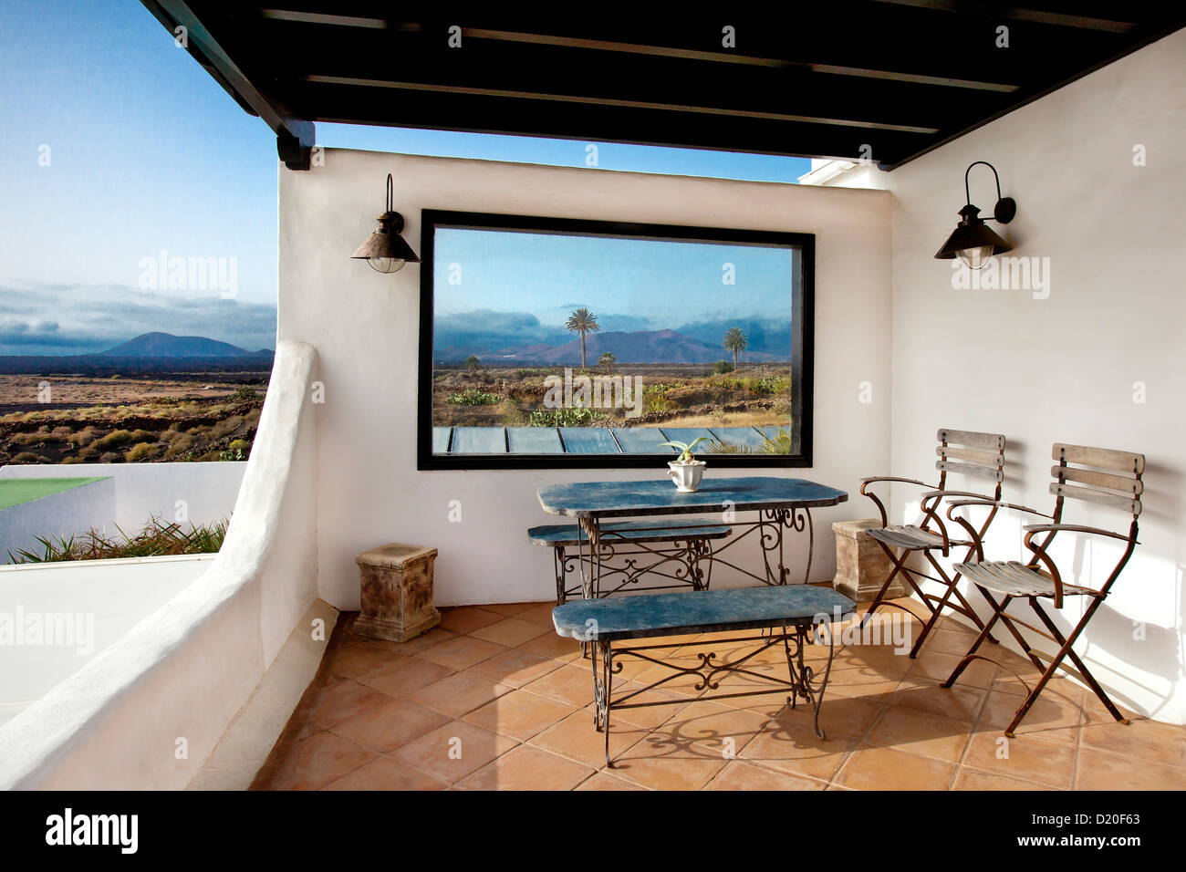 View from a terrace onto Yaiza, Lanzarote, Canary Islands, Spain, Europe - Stock Image