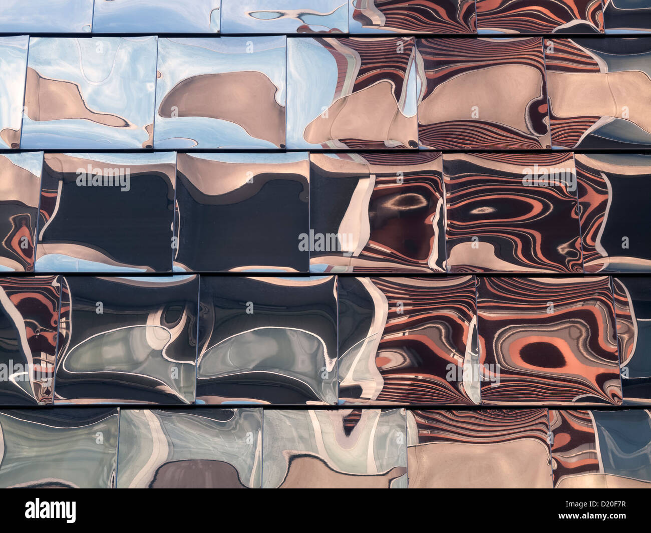 Abstract reflections in the polished stainless steel tiled cladding on the Showcase Cinema, Highcross Leicester, - Stock Image