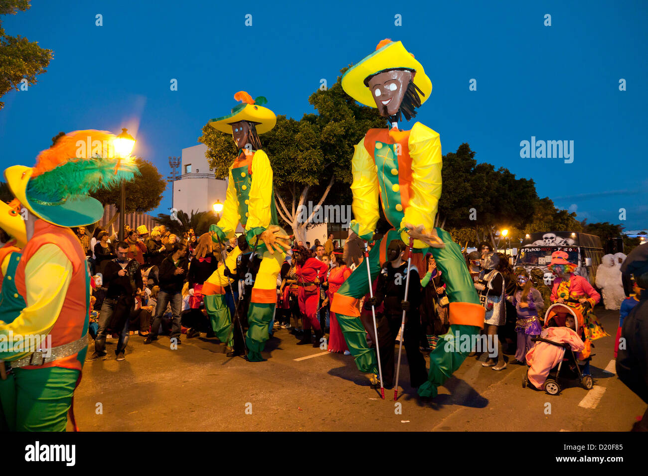 Carnival procession in the evening, Arrecife, Lanzarote, Canary Islands, Spain, Europe - Stock Image