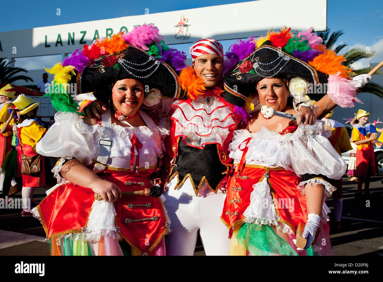 Disguised people at carnival procession, Arrecife, Lanzarote, Canary Islands, Spain, Europe - Stock Image
