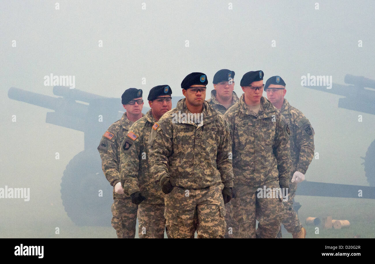 US soldiers give gun salutes on the occasion of the assumption of command by lieutenant-general Donald M. Campbell Stock Photo