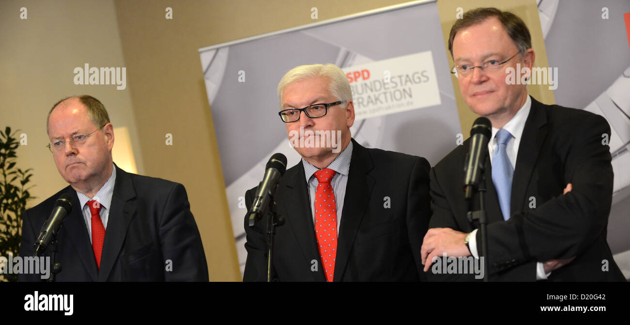 Chancellor candidate of the SPD Peer Steinbrueck (L-R), political group chairman Frank-Walter Steinmeier and top - Stock Image