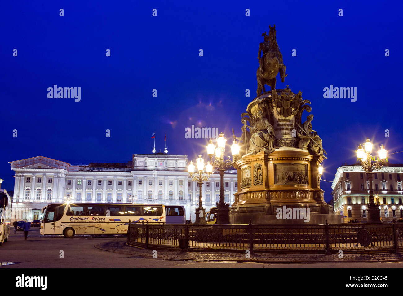Historic buildings are pictures during the blue hour in Saint Petersburg, Russia, 18 October 2012. The entire historic Stock Photo