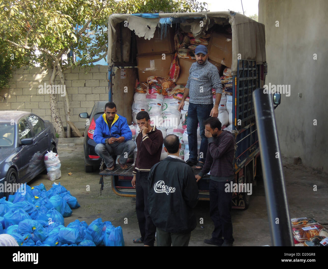 Goods are delivered to a refugees camp in southern Lebanon - Stock Image