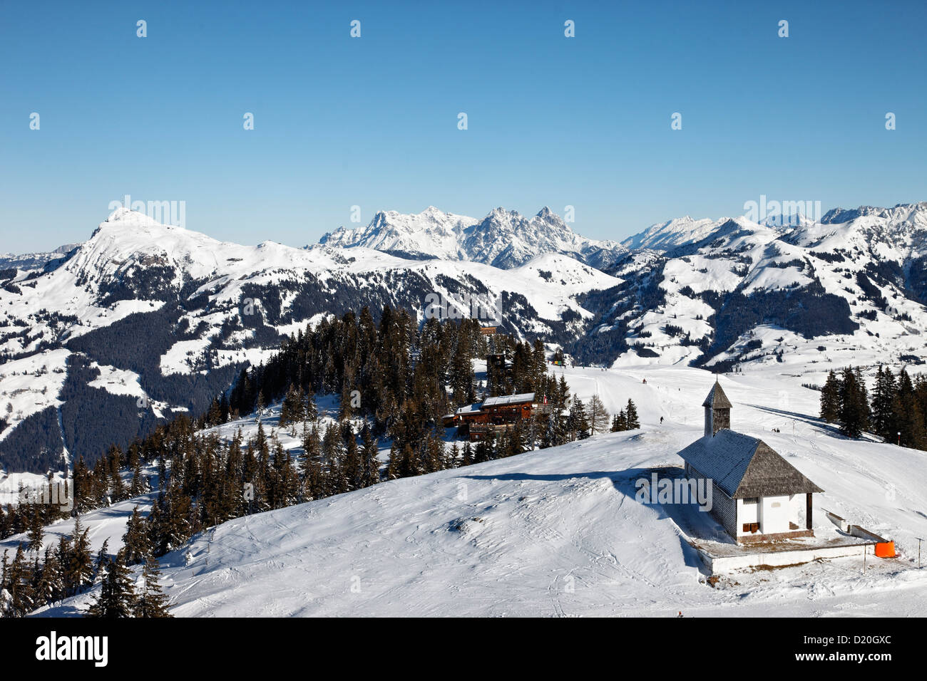 Hahnenkamm Summit, Kitzbuhler Horn in the background, Kitzbuhel, Tyrol, Austria Stock Photo