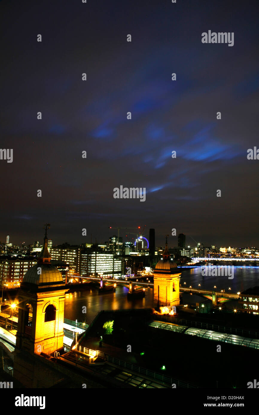 Skyline view of the River Thames beyond Cannon Street Railway Station, City of London, UK - Stock Image