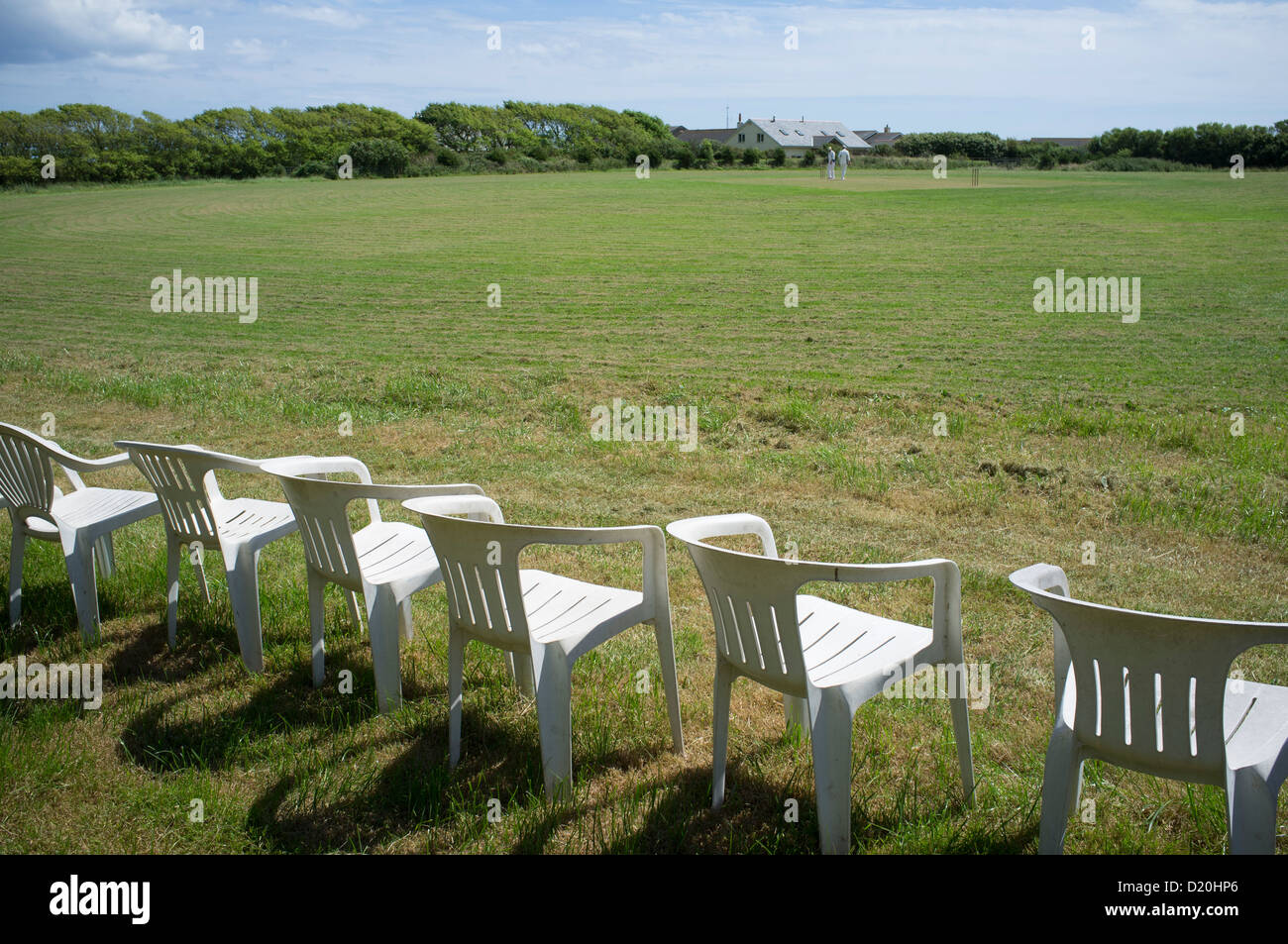 Village cricket match in East Prawle, South Devon - Stock Image