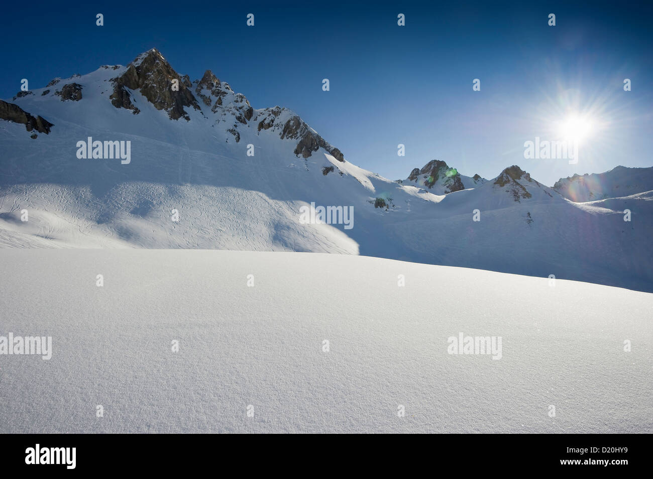 Snow-capped mountain, Tignes, Val d Isere, Savoie department, Rhone-Alpes, France - Stock Image