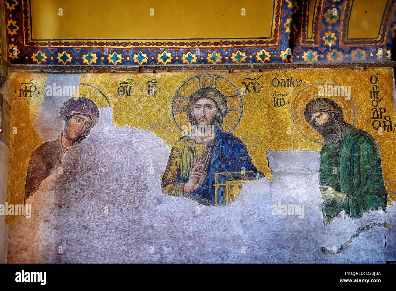 Byzantine ( Entreaty) mosaic , 1261, in which the Virgin Mary & John The Baptist, Hagia Sophia, Istanbul, Turkey - Stock Image