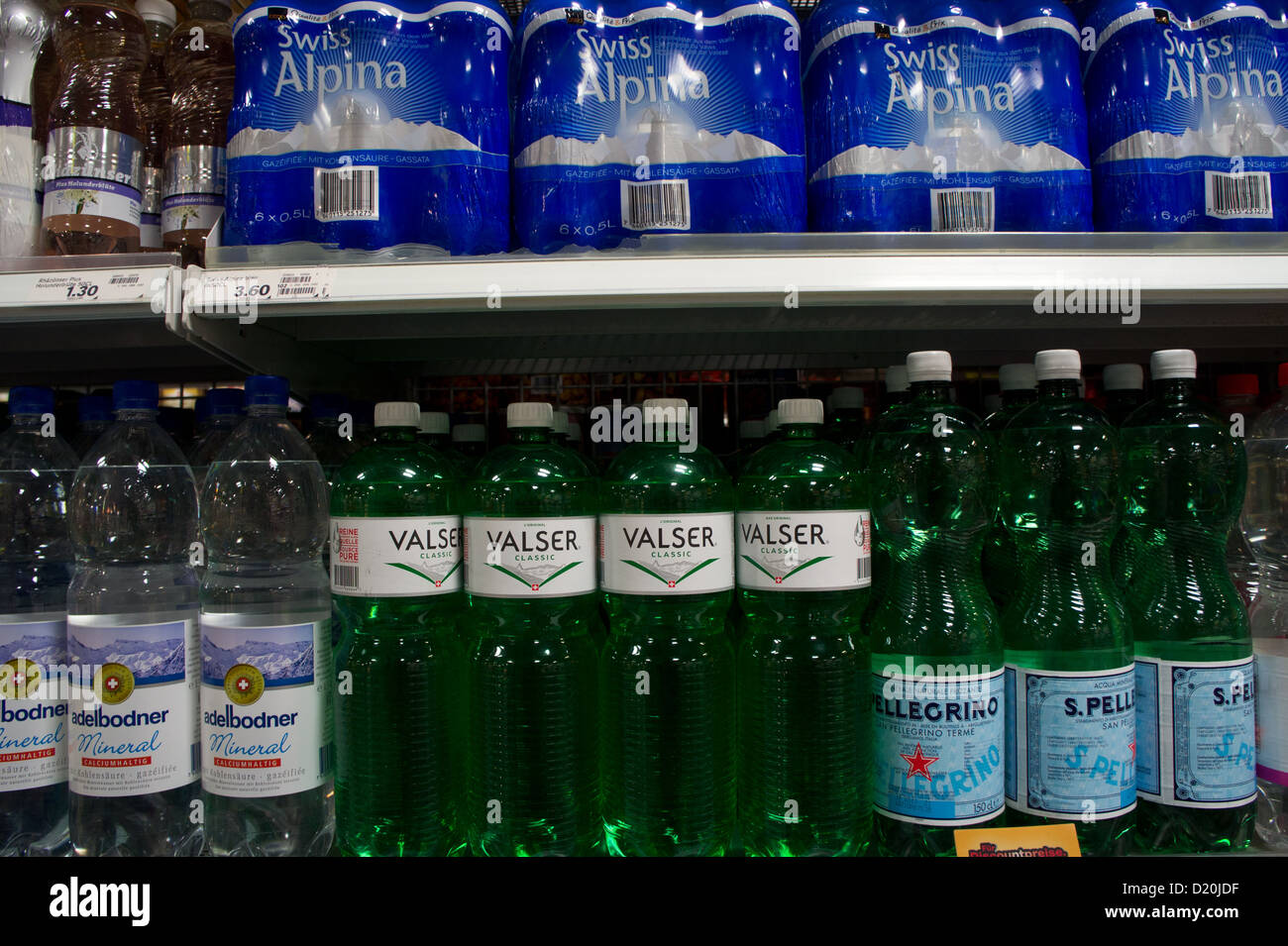 Mineralwater for sale in grocery store, Switzerland - Stock Image