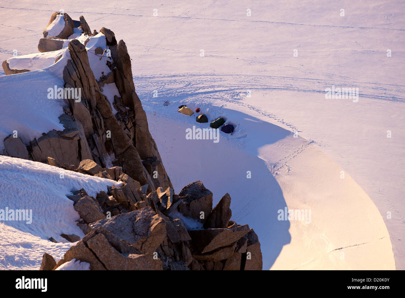 High angle view of base camp underneath Aiguille du Midi, Chamonix Mont Blanc, France, Europe - Stock Image
