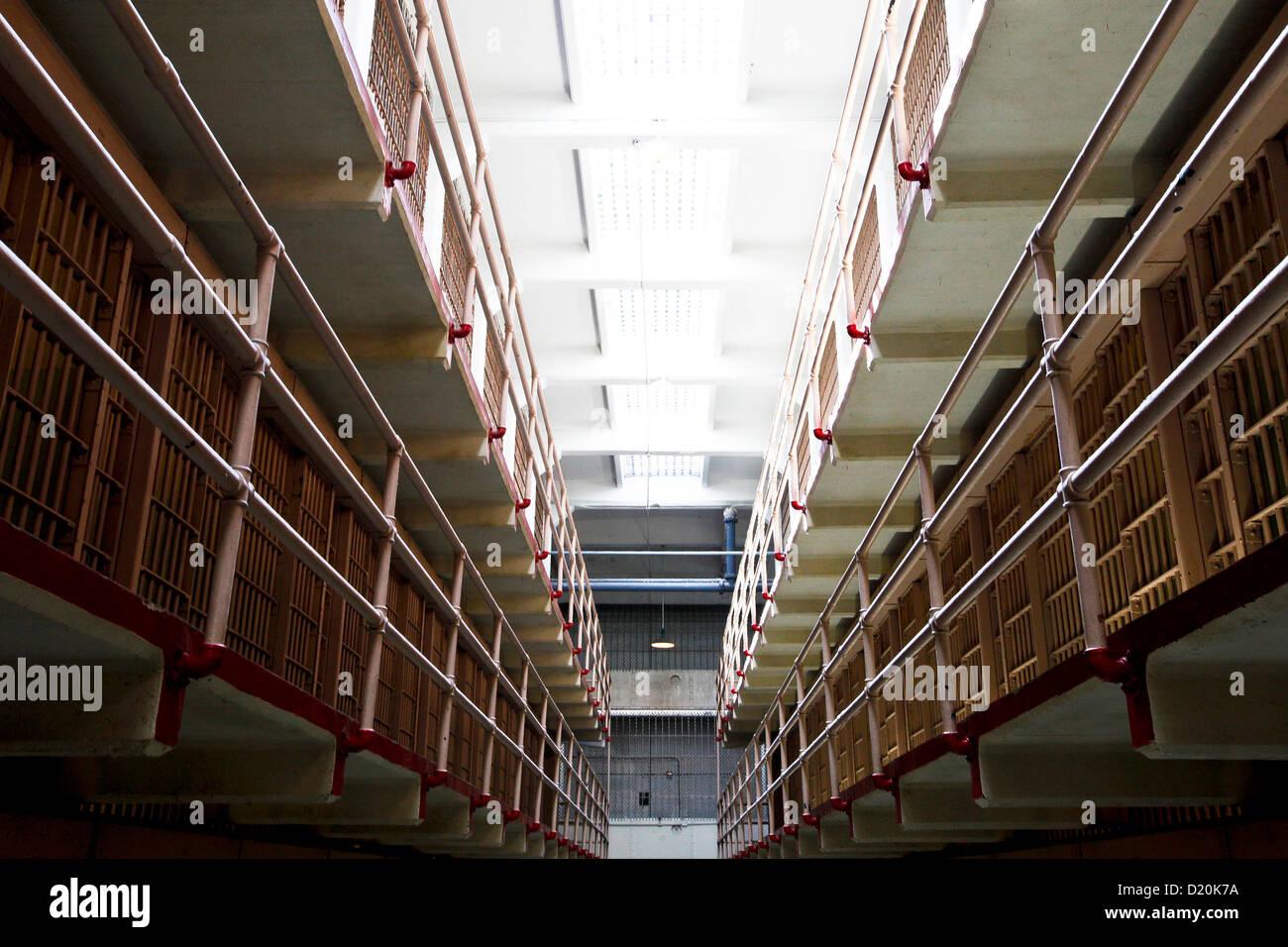 Interior view of Alcatraz Prison, San Francisco, California, USA, America - Stock Image