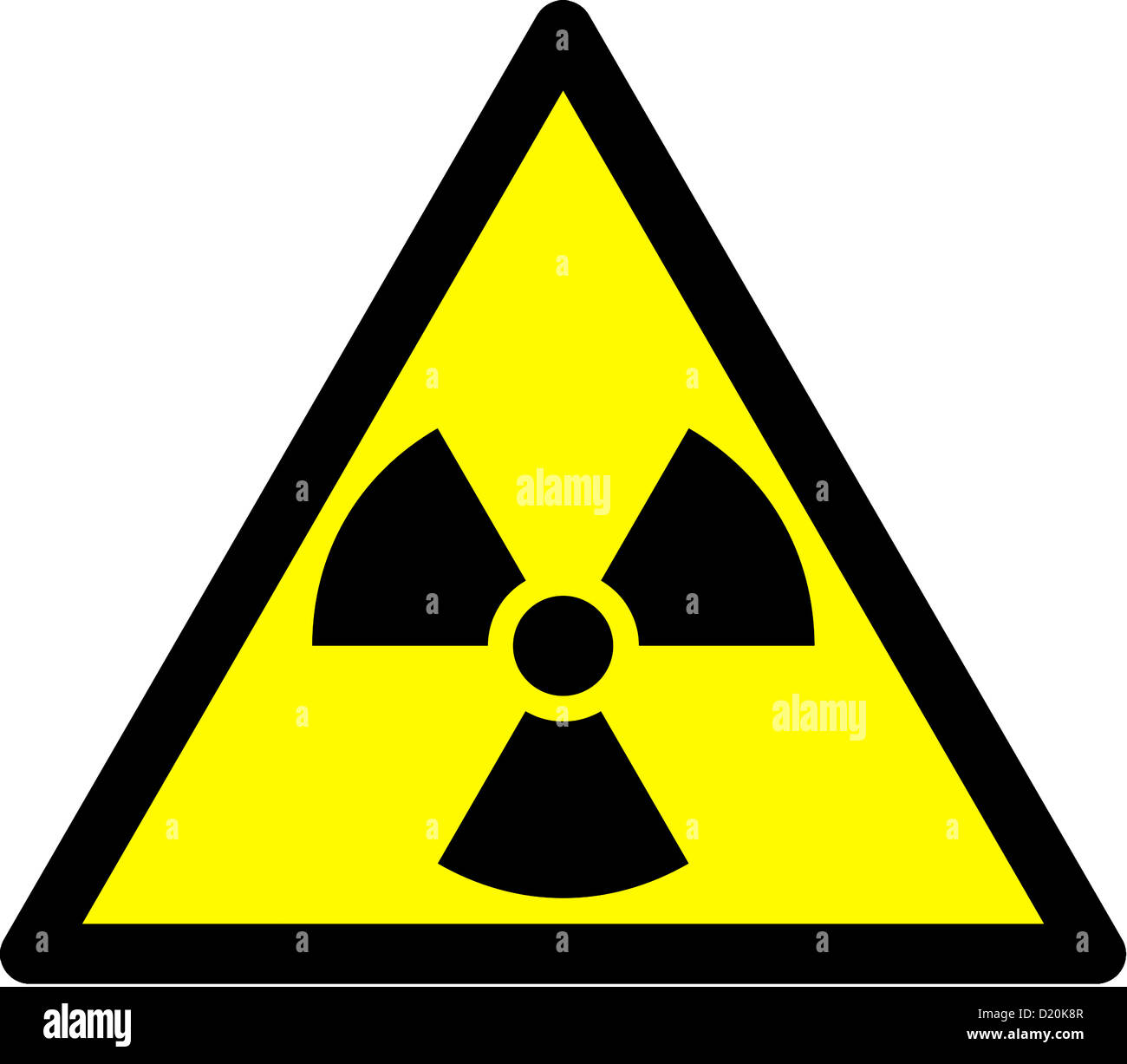 Warning sign in front of radioactivity, radioactive substances and ionising radiation. - Stock Image