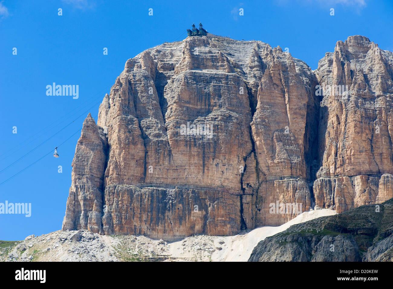 Sass Pordoi with cable car, Pordoi pass, Dolomites, Belluno, Italy, Europe - Stock Image